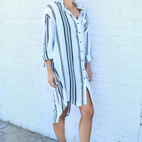 Executive Suite Black & White Stripe Collared Shirt Dress With Breast Pocket