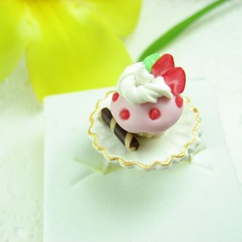 Strawberry Cupcake Ring - polymer clay food jewelry , food ring
