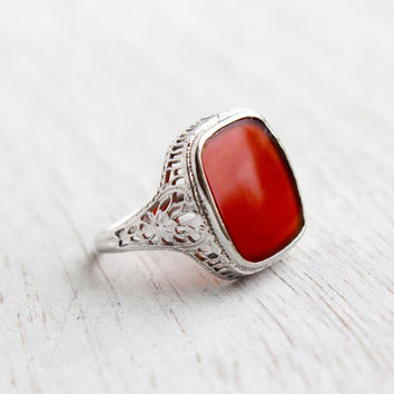 Antique 10k White Gold Carnelian Red Stone Ring - Size 7 Vintage Filigree Art Deco 1930s Fine Jewelry / Red Rectangular Stone