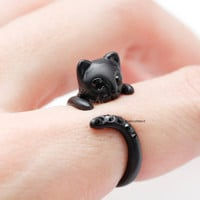 Adjustable Cute Black Kitty Cat with black cubic tail Ring / Cat Ring / Animal Ring / Ring with Cubic Setting / black cat -Color (Black eye)
