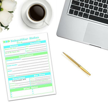 Babysitter Notes Printable | instant download | digital download | emergency notes | babysitter checklist | babysitter printable