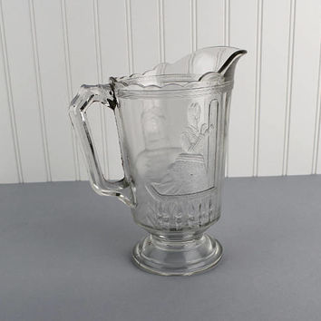 Vintage Pressed Glass Clear Pitcher with Victorian Lady Design Vintage Water Pitcher Depression Glass Pitcher