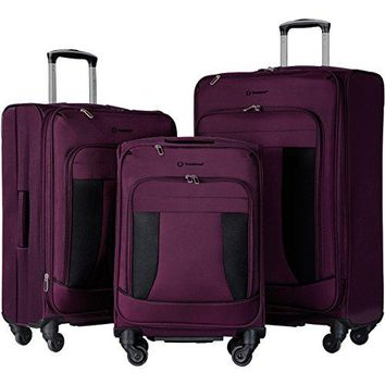 Travelhouse 3 Piece Luggage Set Softshell Deluxe Expandable Spinner Suitcase(Purple & Black)
