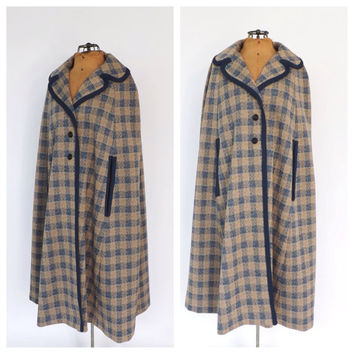 Vintage Cape 1960s 70s Blue Tan Plaid Cape Coat Mod Jacket Maxi Coat Cloak Classic 60s Poncho Formal Mad Men Medium Preppy Fall Winter