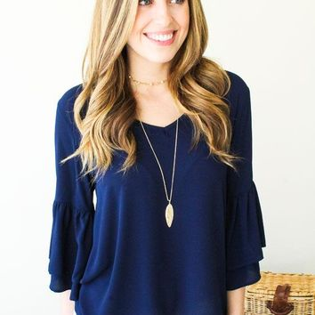 Good One Bell Sleeve Top- Navy