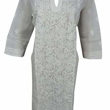 Mogul Interior Womans White Tunic Caftan Cotton Chikan Embroidered Long Dress M: Amazon.ca: Clothing & Accessories