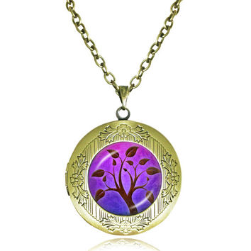 TREE OF LIFE Pendant Bodhi Tree locket Necklace Yin Yang Yoga Tree Jewelry Meditation Jewelry Zen Necklaces tree Reflection 4