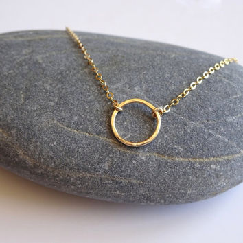 Gold Circle Necklace, Circle Necklace Karma Jewelry, Karma Necklace, Gold Filled Hammered Circle Necklace Gift Necklace Gift Jewelry
