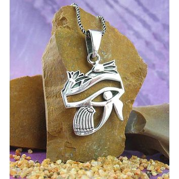 Eye of Horus with Lotus Blossoms Necklace