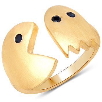 LoveHuang 0.11 Carats Genuine Blue Sapphire Pacman Ring Solid .925 Sterling Silver With 18KT Yellow Gold Plating, Matte Finish