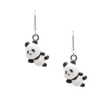 Cute Little Hanging Panda Bear Earrings