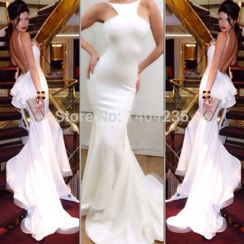 Low price white backless mermaid prom dresses 2015 new custom made bateau ruffle long prom dresses party gowns free shipping