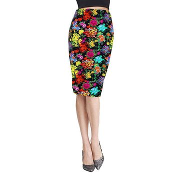 Summer Vintage Women Pencil Skirt Knee-Length Elastic High Waist Midi Skirt Юбка