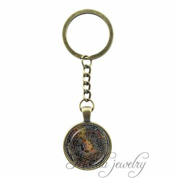 Vintage Pentagram Key Chains Sigil of Ameth Pendant Sacred Geometry Jewelry Glass Dome Pentacle Keychain Occult Wiccan key Ring