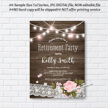 Rustic Retirement Invitations,  Retirement party Invitation,  Retirement Celebration , rustic vintage Invite,  card 1005