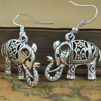Antique Silver Plate Turkish elephant Earrings floral design Boho Gypsy Beachy Ethnic Tribal Festival Jewelry Bohemian