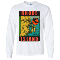 Vintage State Sticker Rhode Island Long Sleeve Shirt