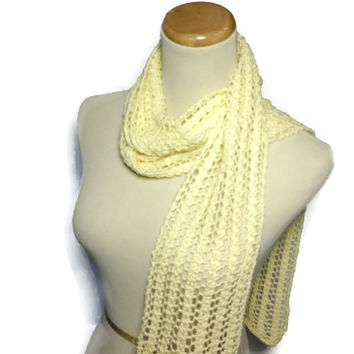 Sale Hand Knit Scarf, Cotton Scarf, Knit Scarf, Mother's Day, Yellow Scarf, Lacy Scarf, Fiber Art, Fashion Accessories, Women Gift For Her,