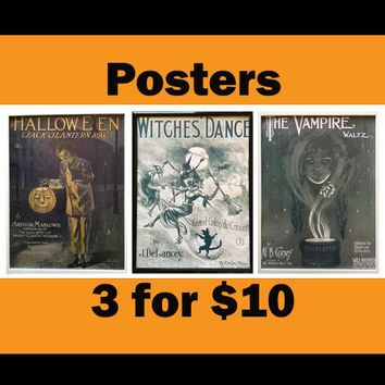 Horror wall art Horror Valentine Halloween lover gift decor Tattoo shop wall art halloween collectible print cute witch art & collectibles