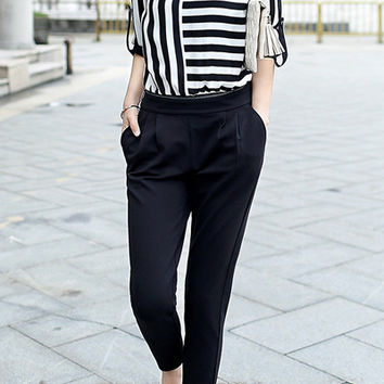 Peter Pan Collar Long Sleeve Striped Faux Twinset Design Jumpsuit