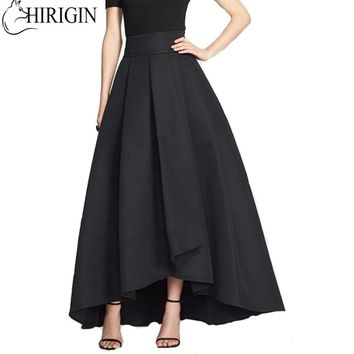 New Style in Autumn 2017 Women Solid Stretch High Waist Flared Pleated Asymmetric Maxi Long Skirt