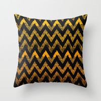 black and gold chevron Throw Pillow by Marianna Tankelevich