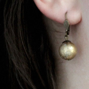 golden bowl // solemn boho earrings - simple boho jewelry - handmade jewelry - christmas gift for her