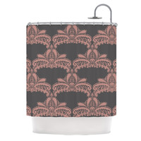"Nandita Singh ""Decorative Motif Pink"" Bronze Floral Shower Curtain"