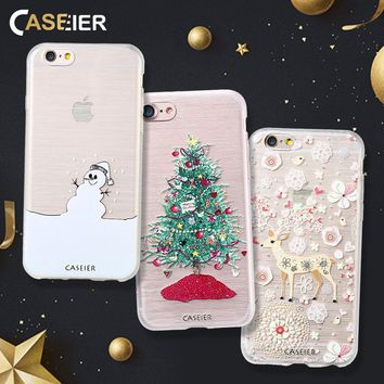 CASEIER Phone Case For iPhone 5 5s SE Merry Christmas 3D Relief Shell Soft TPU Cover Phone Bags Christmas Gift Cute Girls Cases