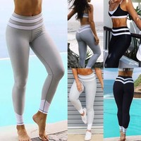 Women's Sports YOGA Workout Gym Fitness Leggings Pants Jumpsuit Athletic Clothes Black/Gray Striped Bodysuit Pant