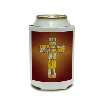 This is Day Lord Made Bible Verse Cross Psalm - Religion Christianity Jesus Catholic Can Cooler Drink Insulator Beverage Insulated Holder