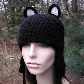 Crocheted Hat Women's Hat Bear Hat Animal Hat Ear by Monarchdancer