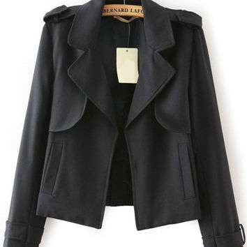 Black Notched Collar Long Sleeve Pockets Cropped Jacket