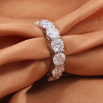 4mm round zircona 925 sterling silver wedding band Ring eternity for women bride Engagement christmas luxury gift jewelry R4620S