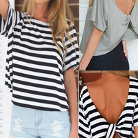 'The Leela' Stripe Twisted Back Tee