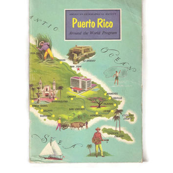 Vintage Book of Puerto Rico, Florida, History and Geography, Paperback Booklet, The Commonwealth of Puerto, 1950's