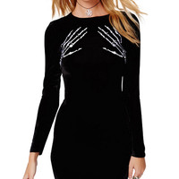 Hand Bones Print Long Sleeve Mini Bodycon Dress