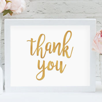 "Thank You 8"" x 10"" DIGITAL DOWNLOAD Gold Wedding Printable Photography Prop Sign (Also Available In Bronze And Chalkboard)"