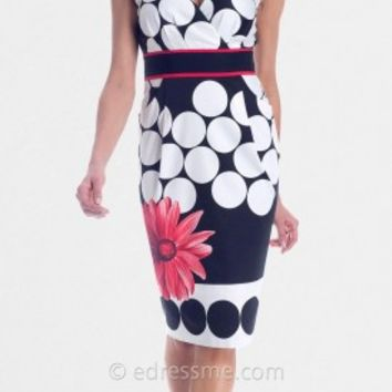 Circle Print V Neck Cocktail Dresses from NUE by Shani