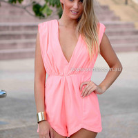THE LOVE BOMB PLAYSUIT , DRESSES, TOPS, BOTTOMS, JACKETS & JUMPERS, ACCESSORIES, 50% OFF SALE, PRE ORDER, NEW ARRIVALS, PLAYSUIT, COLOUR, GIFT VOUCHER,,Pink,JUMPSUIT,SLEEVELESS Australia, Queensland, Brisbane