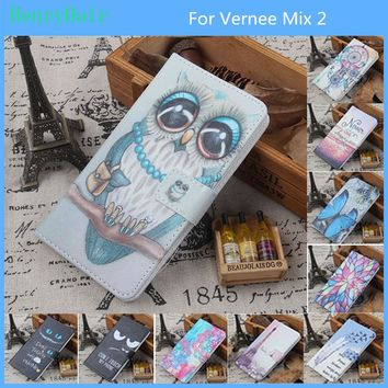 Fashion 11 Colors Cartoon Painting PU Leather Magnetic clasp Wallet Cover For Vernee Mix 2 Case