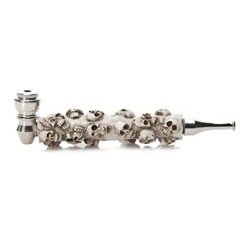 Fashion White Skull Head Style Pipes Resin & Metal Smoking Accessories Portable Herb Hookah Grinder Healthy Tobacco Pipe