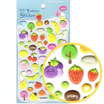 Super Cute Fruit Kiwi Banana Melon Strawberry Shaped Puffy Stickers for Scrapbooking