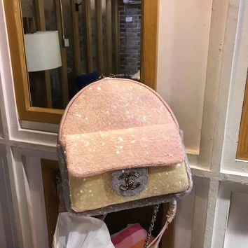 """CHANEL"" New Fashion Sequin Backpack bag"