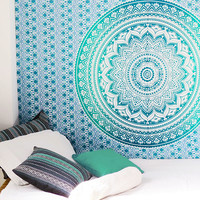 Ombre Mandala Wall Hanging Tapestry Beach Bedspread - Twin/Single
