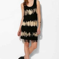 Love Sam Knit Tie-Dye Fringe Dress- Black Multi M