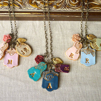 Mother's Day Letters Cluster - Children names necklace - Grandma Necklace- DELIVERY AFTER MOTHER's Day