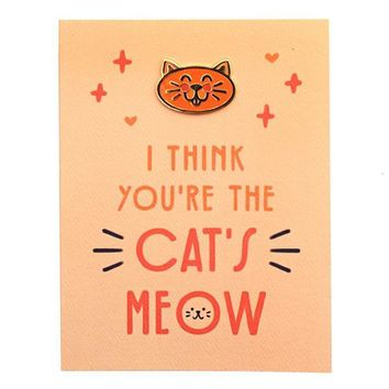 Cat's Meow Card + Pin
