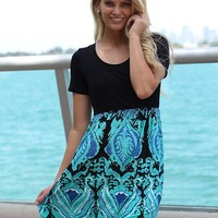 Black And Aqua Dress With Short Sleeves