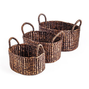 New Rustics Furniture Company POHWHB3 Patina Oval with Handle Water Hyacinth Basket, Set of Three